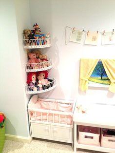 Adventures in Tullyland: Project Playroom: Storage Stuffed animal storage idea Organizing Stuffed Animals, Stuffed Animal Storage, Playroom Storage, Corner Storage, Corner Shelves, Wire Shelves, Book Storage, Storage Bins, Storage Cabinets