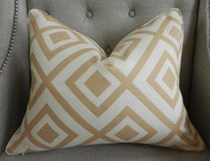 "Decorative Designer Pillow Cover - 14""X18"" - David Hicks for Lee Jofa - Groundworks - La Fiorentina - Geometric Print in Beige and Ivory. $55.00, via Etsy."