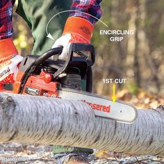 The most common chain saw injuries to the thigh and left arm can be virtually eliminated with just a two simple precautions. First, always wrap the thumb of your left hand around the front handle while you're cutting. This encircling grip keeps the saw under control in the event of a kickback... Click the link to find out more. Visit CYMOT for your Stihl Chainsaw and other gardening and bush clearing equipment. www.cymot.com