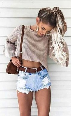 #Summer #Outfits / Knit Crop Sweater + Denim Ripped Short Shorts