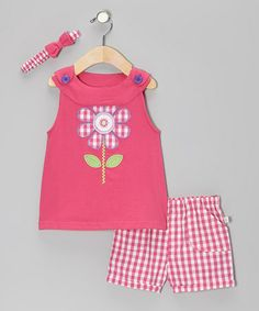 Take a look at this Pink Plaid Flower Poplin Jumper Set by Duck Duck Goose on #zulily today!