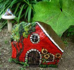 Rock Painting Ideas, Little Houses for Miniature Garden Design