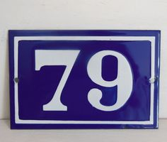 OLD FRENCH HOUSE NUMBER SIGN door gate PLATE PLAQUE Enamel steel metal 79 Blue #FRENCH