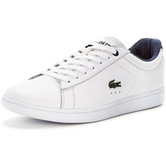 Lacoste Carnaby Evo 116 1 Spw Wht (145 NZD) ❤ liked on Polyvore featuring shoes, lacoste, white chunky shoes, lacoste shoes, chunky shoes and white shoes
