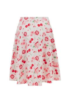 5e6d6e1307 Voodoo Vixen Mid Century Pin Up Zena White Cherry Red Basket Flare Skirt  S-XL