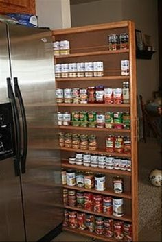 Storage for cans in that dead space next to the refrigerator! for-the-home    click thru for link...