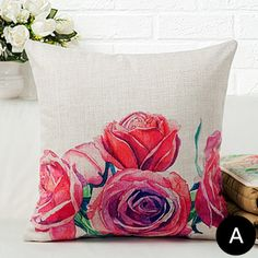 Red rose flower decorative pillows for grey couch linen sofa cushions