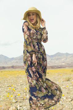 Share your Shabby!  Spring Bouquet Chiffon Maxi Dress Navy