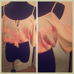 Never worn! Hot salmon pink top! Super cute off the shoulder crop top that's is bright pink and salmon! Tops Crop Tops