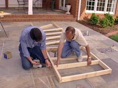 Building an outdoor kitchen cabinet. More tutorials on webpage on how to anchor and weatherproof.