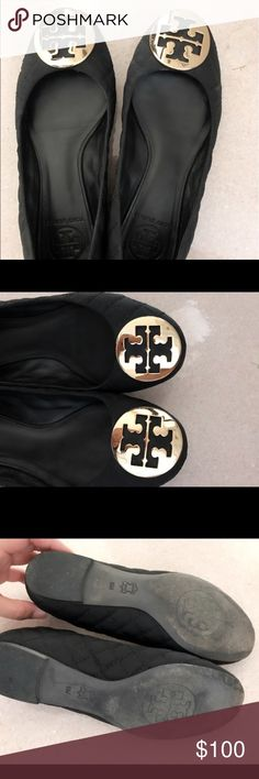 Tory Burch Flats Beautiful Tory Burch flats - black quilted with gold logo. These are a re-posh. I absolutely LOVE them but they are too small. I vary between a 6 and 6.5 depending on the shoe and these are a true 6. The bottoms are a little dirty as shown in pic but they are in such great condition other than that. I love these shoes and am so sad to have to resell! My loss is your gain! Tory Burch Shoes Flats & Loafers