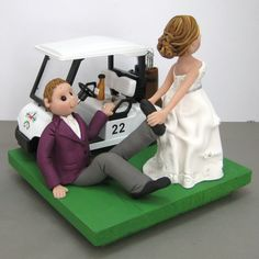Bride dragging the groom off the golf course wedding cake topper. www.clayinaround.etsy.com