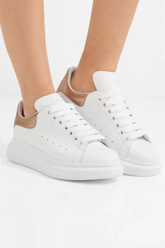 Alexander McQueen - Metallic-trimmed leather exaggerated-sole sneakers c7748ed80