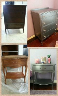 Old furniture, sand down, two coats of primer and two coats of Martha Stewart's Metallic paint in Thundercloud