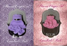 Princess Diaper Sets Available. Newborn in Pink and Purple In Stock Other colours and sizes can be Knit to Order  $22.50 each.