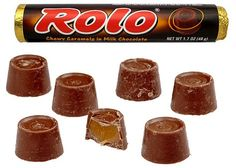 "Rolo (pronounced ""Row-lo"", referring to the roll-styled candy) is a brand of truncated-cone-shaped or frustum-shaped chocolates with a caramel centre, the shape resembling that of a shallow inverted bucket or tub or a traditional lampshade. First manufactured in the United Kingdom by Mackintosh's in 1937, they are made by Nestlé, except in the United States where production has been under licence."