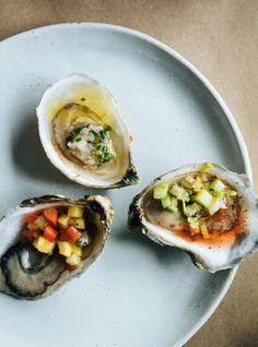 Recette de Ricardo d'huîtres et mignonnette à la lime  et au gingembre