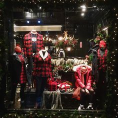 """WHO A.U,34th Street,New York, """"The red buffalo plaid holiday window concept"""", display by Polar Buranasatit, pinned by Ton van der Veer"""