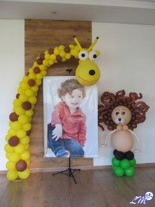 decoração com balões safari