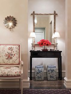 mirror, small lamps, matching stools