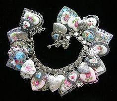 Vintage Sterling Silver Heart Charm Bracelet Guilloche Enamel Flowers Rose Cameos | eBay