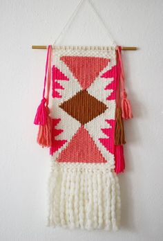 DIY Tapestry. You Need: Loom, Cotton yarn, Wooden dowel rod, Tapestry needle, Shuttle, Shed Stick, Scissors.