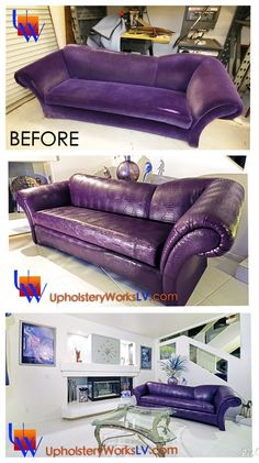 Purple Alligator Sofa: Before & After www.UpholsteryWorksLV.com #UpholsteryWorks #Upholstery #Lasvegas #alligator #gator #furniture #diy