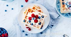 Gofry | Ania Starmach Waffles, Cooking Recipes, Cookies, Breakfast, Desserts, Anna, Food, Baking, Crack Crackers