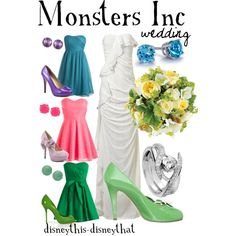 Monsters Inc. Wedding, created by disneythis-disneythat. I really like the colors of the bridesmaid dresses, even though I would never have my bridesmaids be mis-matching!