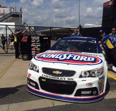 AJ Allmendinger's team is rolling his #47 Kingsford car through inspections at the Sprint All-Star race, Charlotte Motorspeedy May, 16, 2015.