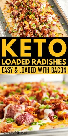 OMG these are sooo good! Keto Loaded Oven Roasted Radishes are reminiscent of loaded roasted potatoes topped with creamy ranch dressing, bacon, and cheese. You'll never look at radishes the same again! This amazing keto roasted radishes recipe works Low Carb Chicken Recipes, Low Carb Recipes, Diet Recipes, Healthy Recipes, Shrimp Recipes, Lunch Recipes, Soup Recipes, Vegetarian Recipes, Roasted Radishes