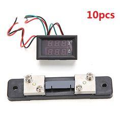 10pcs Mini Digital Blue + Red Led DC Current Meter Volt Meterr With Ampere Shunt