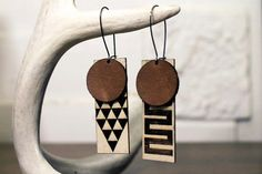 New Frick & Fractal Laser cut Leather and Wood by SaltyandSweet, $22.00