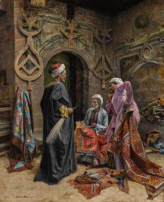 Carpet market, Cairo, Ottoman Egypt, 1800s.