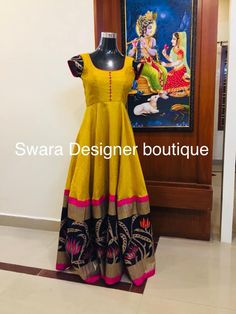 Can be customised To order WhatsApp 9959021569 Indian Frocks, Indian Gowns, Indian Outfits, Long Gown Dress, Frock Dress, Long Gowns, Saree Gown, Sari, Long Dress Design