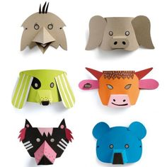 Mask costume, DIY costumes, disfraces - Carnival and halloween - Mascaras disfraces DIY Cardboard Mask, Cardboard Animals, Cardboard Crafts, Diy For Kids, Crafts For Kids, Farm Animal Crafts, Mask For Kids, Animal Masks For Kids, Mask Making