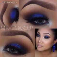 Lid: Midnight & Glamour, Crease: Cuppaccino & Vino, Lower lid: Onyx & Vino, and Tear duct: Crystal blue & Cream fresh.