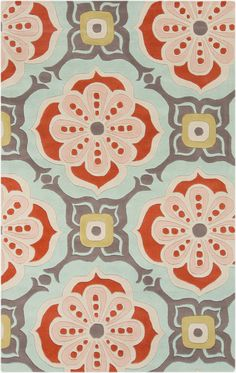 This rug features a graceful feminine edge that pairs nicely with stained wood finishes and faux sheepskin textiles.