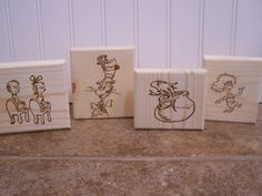 Dr Seuss Wood Burned Blocks- Idea for any favorite book.