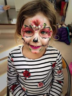 Pin by Крамер Вита on mask Halloween Face Paint Scary, Halloween Make Up, Halloween Face Makeup, Halloween 2019, Candy Skull Makeup, Candy Skulls, Sugar Skulls, Sugar Skull Face Paint, Kids Makeup