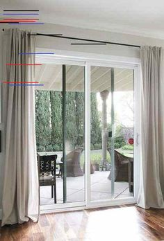 Installing sliding door curtains is the best window treatment for your sliding doors. Sliding door curtains come in number of varieties and designs. Glass Door Curtains, Sliding Door Curtains, Patio Door Curtains, Sliding Door Window Treatments, Sliding Door Design, Sliding Patio Doors, Bedroom Curtains, Front Doors, Diy Bedroom