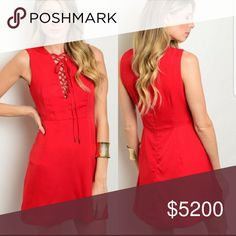 COMING SOON....Red Lace Up V neck Dress This gorgeous red dress is perfect for summer!  Lace up V neck dress.  Material: Elastic and Polyester blend  Will price drop once available! Sip N' Sparkle Dresses Midi