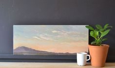This original italian sunset landscape oil painting was painted en plein air from the hill town of Porchiano del Monte in Umbria and captures the Monte Cimino above Viterbo. It's an original gift ...