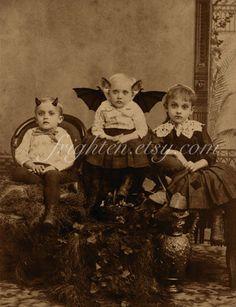 Halloween Decor, Vintage Halloween, Creepy Children, Halloween Wall Art, Weird Art, Party Decoration, Strange Art, Oddities by frighten on Etsy https://www.etsy.com/listing/110813761/halloween-decor-vintage-halloween-creepy