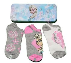 Disney Girls Frozen Elsa 3 Pair Socks Grey/Pink/White Gift Set Tin Case (Sock Sz 7-9) #Elsa #Frozen #TinPencilCase