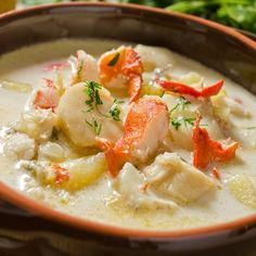 GRANDMA'S RECIPES - A seafood chowder recipe acked with goodness, a meal in itself. Seafood Chowder Recipe from Grandmothers Kitchen. Fish Recipes, Seafood Recipes, Cooking Recipes, Healthy Recipes, Copycat Recipes, Best Seafood Chowder Recipe, Mixed Seafood Recipe, Squid Recipes, Seafood Appetizers