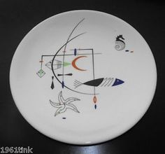 WALLACE-China-PALISADES-Pattern-FISH-10-Round-Dinner-Plate-MID-CENTURY ...