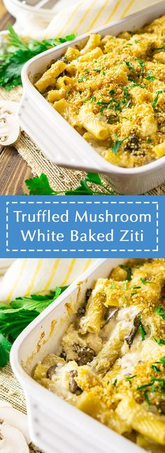 Classic comfort food gets a touch of sophistication with this truffled mushroom white baked ziti! This mushroom baked pasta recipe is the perfect recipe for feeding a crowd, and with that cheesy sauce and creamy ricotta, this is always a crowd pleasing meal. You'll love this truffle baked pasta! #whitebakedziti #whitebakedzitiwithricotta #bakedzitiwhitesauce #mushroombakedpasta #trufflepasta