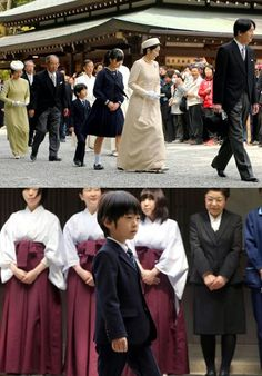 Prince Akishino and his wife Princess Kiko on the way to visit a temple in Ise. We also see their child, Princess Kako and Prince Hisahito front Kaguraden Hall in Ise in Mie