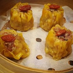 """Steamed Chicken Shao Mai (Chinese Lap Chang Sausage, Shitaki Mushrooms, Gogi Berries). #music #beer #happy #yummy #delicious #desert #bar #eat #eatclean…"""